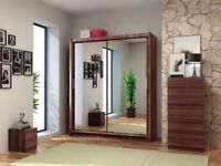 BRAND NEW 2 DOOR BERLIN SLIDING WARDROBE FULLY MIRROR WITH SHELVES AND HANGING RAILS