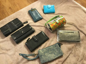 Leather wallets (Sondra Roberts, Danier) + Oscar tin tote BNWT