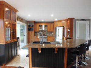 Beautiful Cherry kitchen cabinets with granite