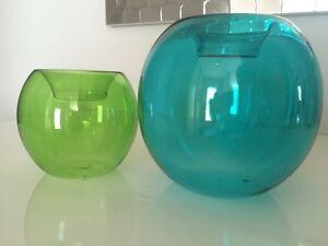 Bougeoirs vitre translucide verre couleur Bouclair décoratif