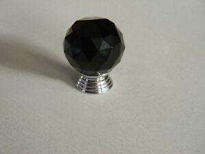10 Brand New Round Shape Black Crystal Knobs ( with screws)