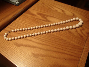 "30"" Long Pale Pink Beaded Necklace"
