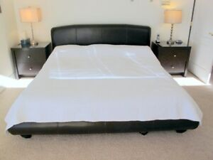King Leather Look Bed w/ Quality Mattress and End Tables - V. Go