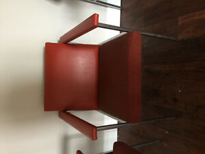 3 red premium leather chairs
