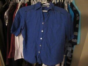 Blue Irish Linen button down shirt - size medium