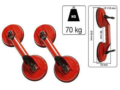 2x Doppel Scheibenheber je 70kg Saugheber Saugnapf Gummisauger Glasheber Vakuum