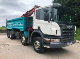 2008 08 Scania P340 8x4 steel tipper Epsilon E120L crane and grab, weigher