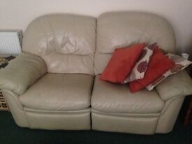2 seater cream leather recliner FREE TO COLLECTOR