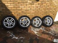 "FORD FOCUS ZETEC 16"" ALLOY WHEELS AND TYRES TRANSIT CONNECT MONEDO 205-55-16"