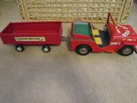 Vintage tin metal toy jeep with trailer - 1968
