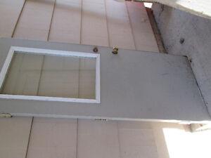 Grey Steel Door with Window