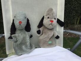 SWEEP (FROM SOTTY AND SWEEP) TWO SWEEP HAND PUPPETS. THE BLUE ONE MADE AROUND THE 1960's CHAD VALLEY