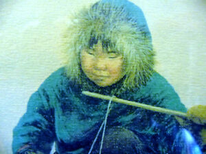 """Inuit Painting by Dorothy Francis """"Little Fisherman"""" Lithograph Stratford Kitchener Area image 4"""