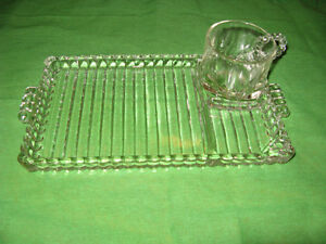 Vintage glass luncheon plates & cups set