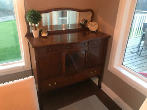 Antique Sideboard Hutch with Mirror