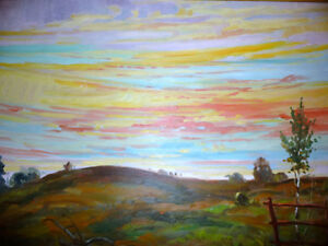 "Vintage Oil by Peter Stoyan (Stoyanoff) ""Sunset"", AOCA, 1952 Stratford Kitchener Area image 2"