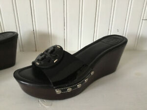 NEW women's Tory Burch black patent leather sandals