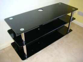 Black smoked glass 3 tier TV stand for sale in excellent condition £40