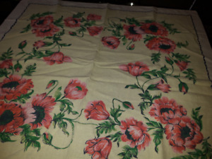 Vintage Linen Poppies Table Cloth