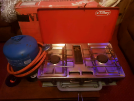 Tilley camping stove with ful lbottle of gas.
