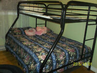 Bunk Bed Set: Single over Double Bed---Sturdy Metal Frames Only
