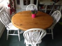 Round shabby chic dining table and 4 chairs