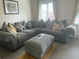 Double corner sofa, foot stool and love chair