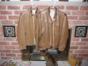 Leather motorcycle jackets.