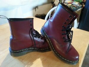 Dr. Martens Leather Burgundy Boots, Size 6