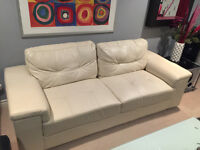 "WHITE ""LEATHER"" LOVE SEAT"
