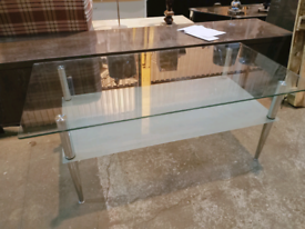 Ex Display Large COFFEE TABLE TEMPERED GLASS CHROME LEGS GLASS SHELF (Was £99)
