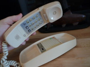 Vintage AT&T Cream Touch Tone Wall and Desk Phone .