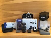 Olympus OM-D E-M5 Micro Four Thirds Camera + Lens + HLD-6 Battery Grip + Case