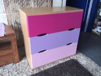 Chest of Drawers Pink 3 Drawer chest