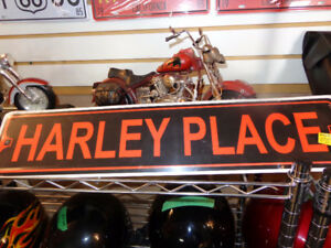 """Harley Place"" tin sign-new- recycledgear.ca"