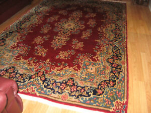 Persian rug 9 by 7 feet ( hand made)red/blue color,Beautiful