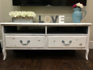 Distressed Chalk Painted TV Console Table - Farmhouse Style