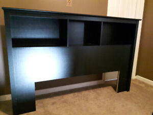 Black wooden headboard with storage, fits full/double and queen