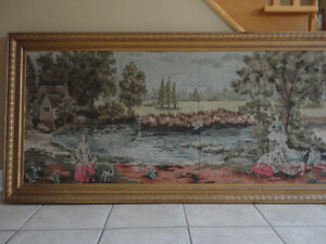 Vintage large framed tapestry wall hanging decor London Ontario image 4