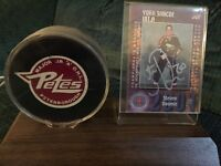 Steve Downie Autographed Card with stand and puck