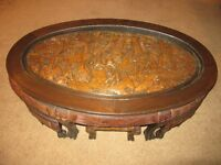 Hand Carved Oval Wooden Coffee Table with Six stools