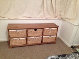 Wood side unit with Whicker draws