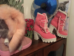 Used, (9) 9,5 8,5 so so botte d'hiver rose Pink and white neuf New!! for sale  Ville Montréal