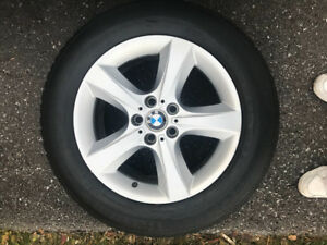 "Like new OEM BMW 18"" 5 bolt rims with 255 55 18 snow tires"