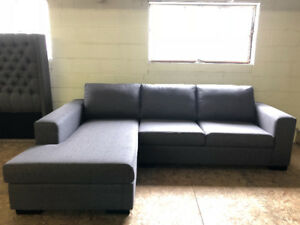 BRAND NEW CANADIAN MADE DARK GREY WIDE SECTIONAL