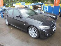 2010 BMW 320D M SPORT 181 TOURING ESTATE IN BLACK # FULL BLACK LEATHER #