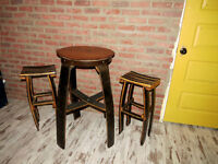 Oak Bar table and Two Chairs