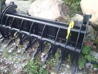Clam style Hydraulic Grapple root rake for Skid Steer  NEW $2200