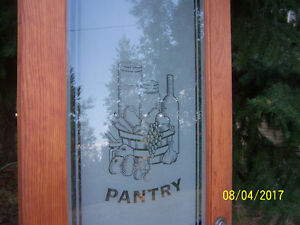 28 inch x 78.25 inch Pantry door with etched glass