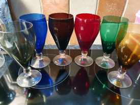 Original 1960s mid century vintage coloured drinking glasses decor